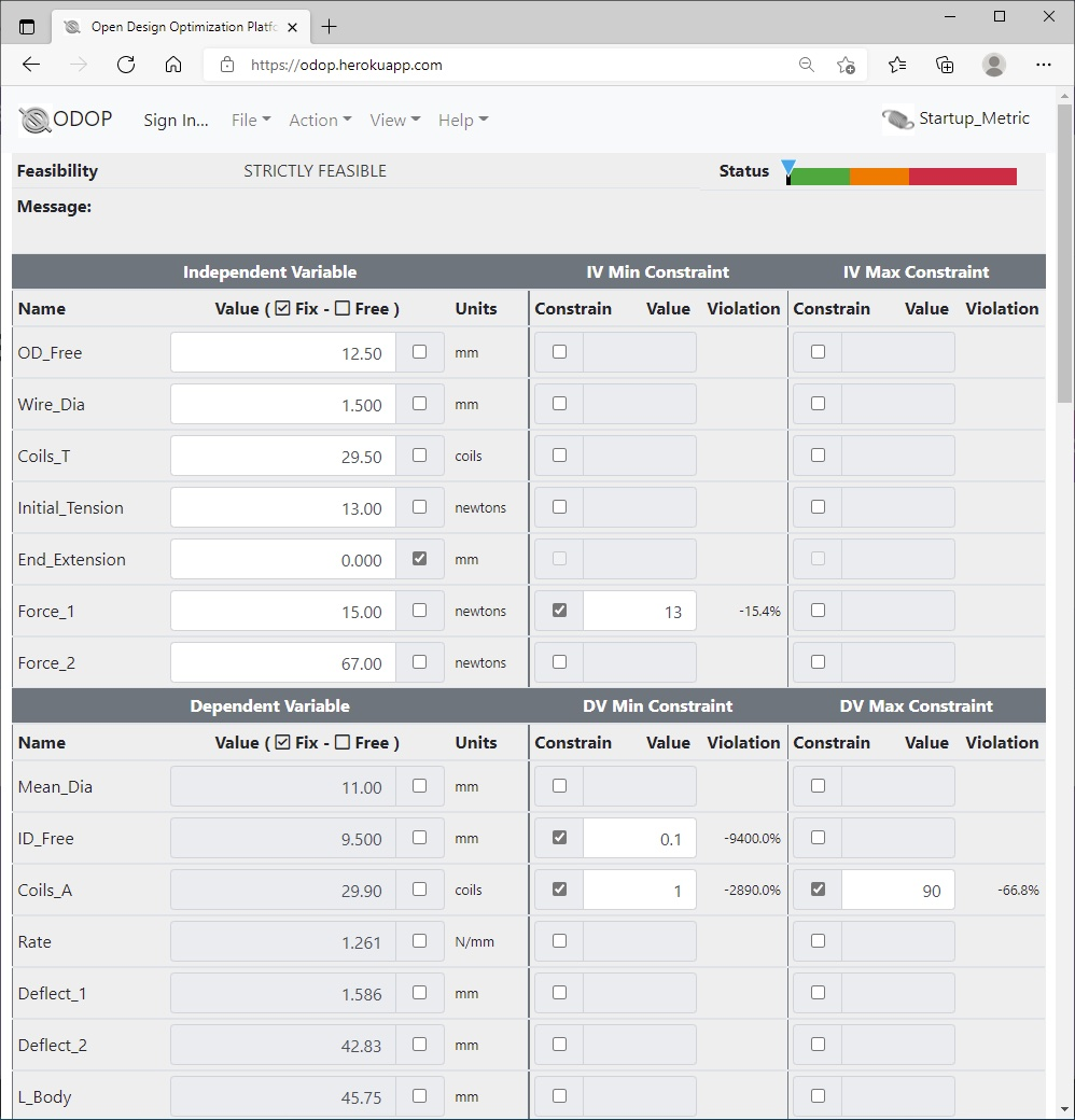 ODOP:Spring Design Software-advanced-view Extension Spring Metric