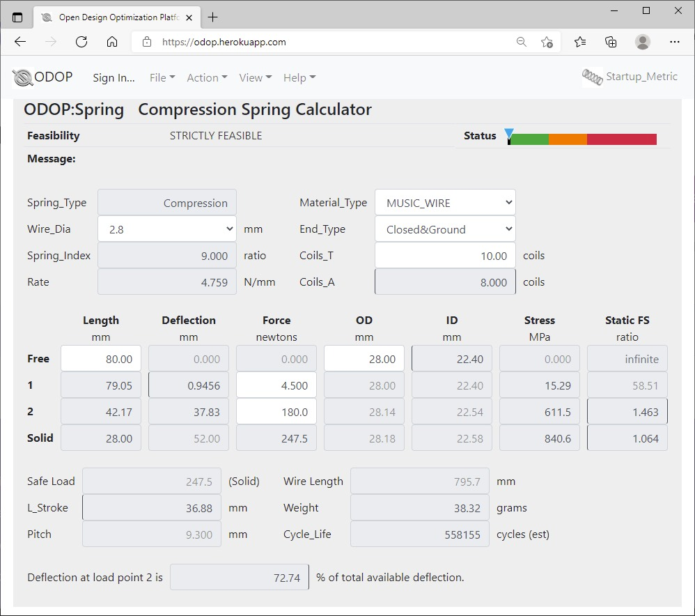 ODOP:Spring Design Software Calculator View Compression Spring Metric