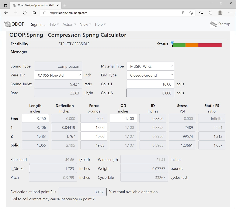 ODOP:Spring Design Software Calculator View Compression Spring U.S.