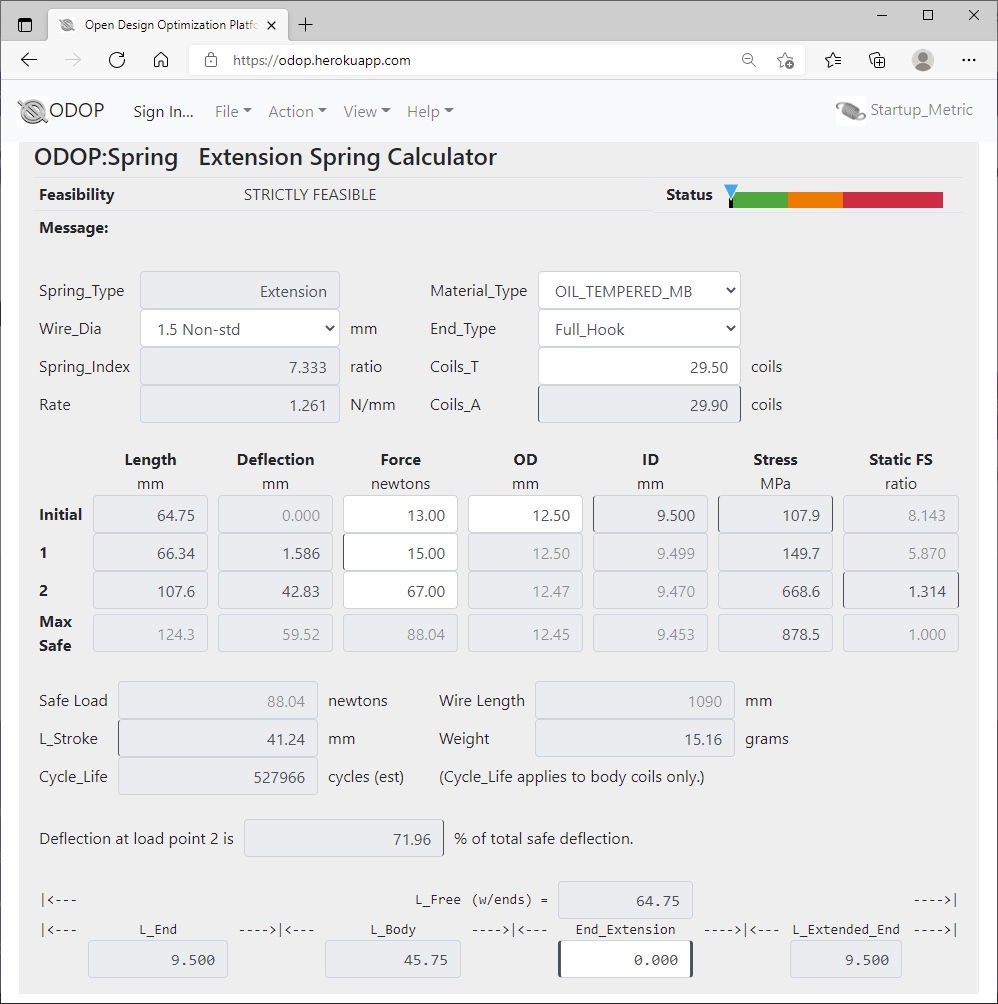 ODOP:Spring Design Software Calculator View Extension Spring Metric