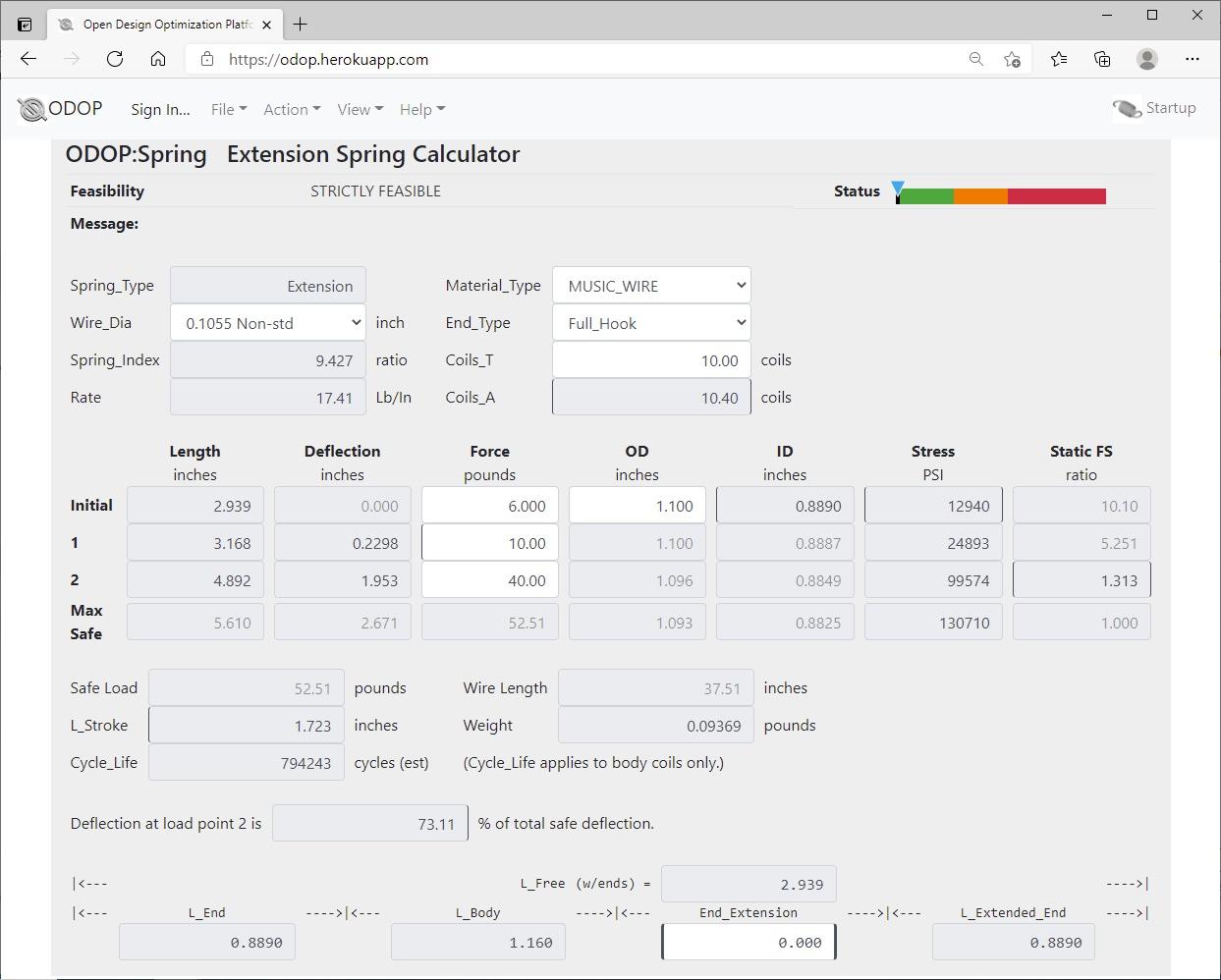 ODOP:Spring Design Software Calculator View Extension Spring US