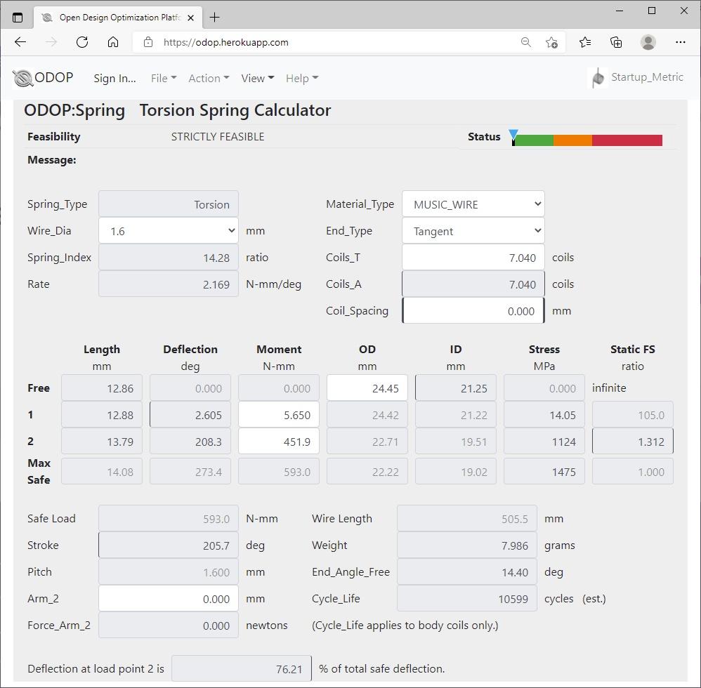 ODOP:Spring Design Software Calculator View Torsion Spring Metric